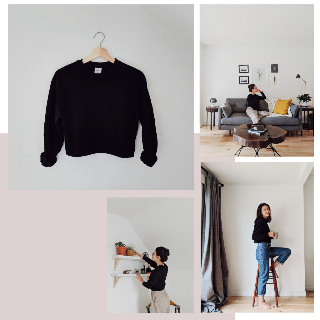 A collage of photos showing a woman with shoulder-length brown hair wearing Kotn's black cropped sweatshirt