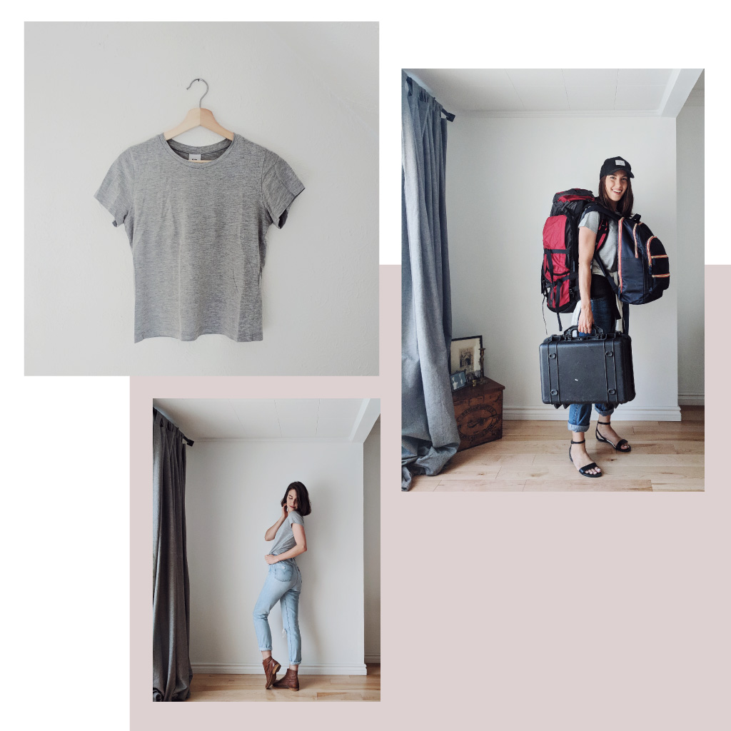 A collage of images showing a woman with shoulder length brown hair holding luggage and ready for a road trip, while wearing Kotn's grey Women's Essential Crew t-shirt