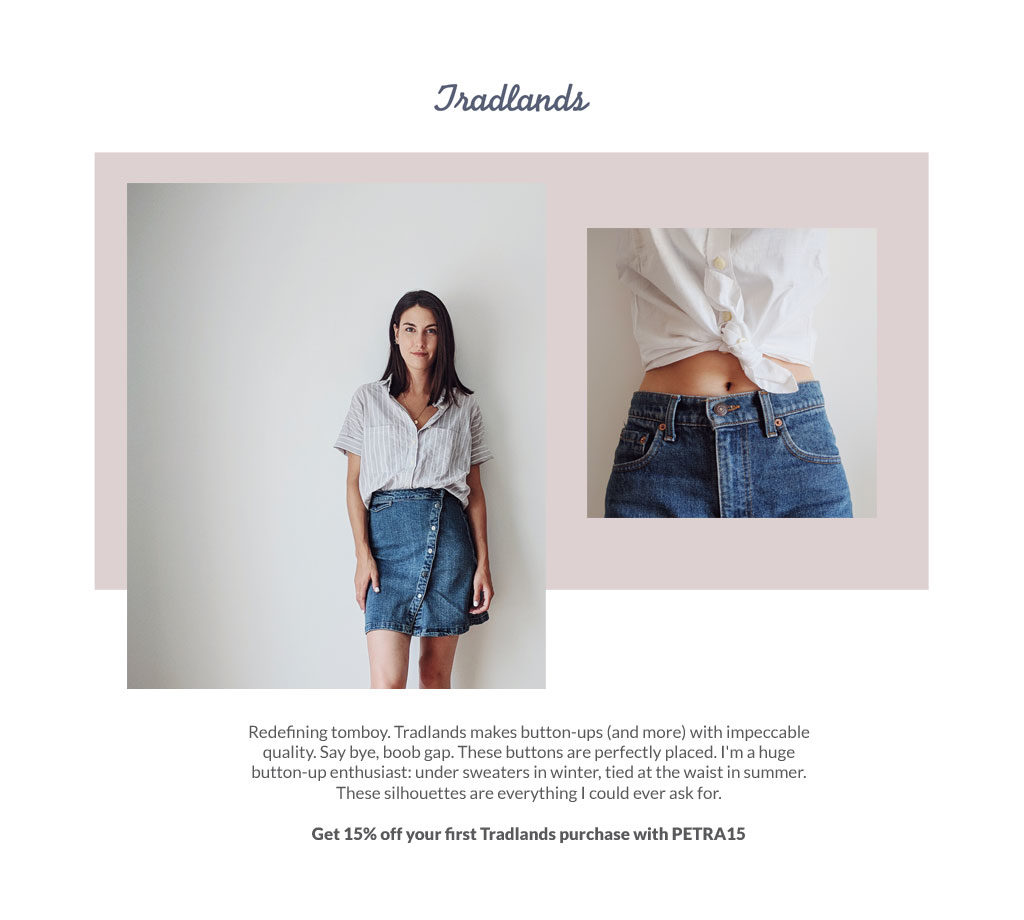 Get 15% off your first Tradlands purchase with code PETRA15