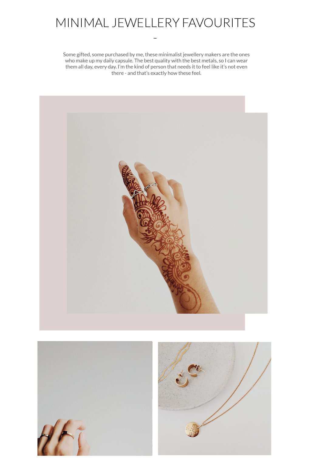 My minimal jewellery favourites: Stray Stones, Betsy & Iya, and Mejuri