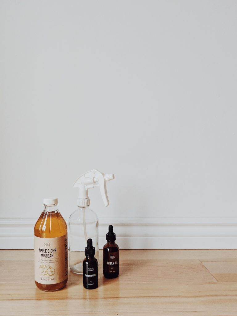 A grouping of ingredients for apple cider vinegar hair rinse