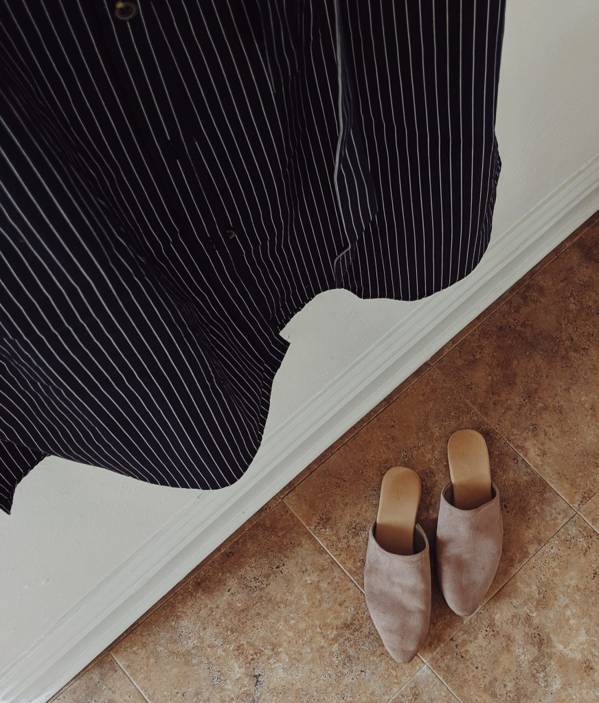 An overhead view of the taupe pointed toe slides