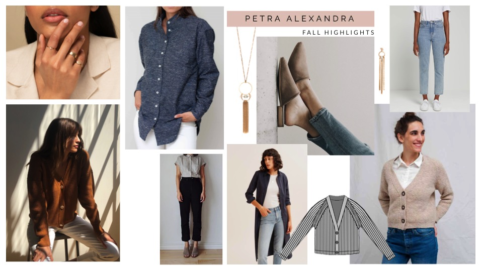 Collage showcasing a number of garments in blue and neutral hues for fall
