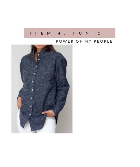 Power of My People Tunic Button-Up in marled blue