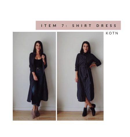 Kotn Shirt Dress in Navy Pinstripe