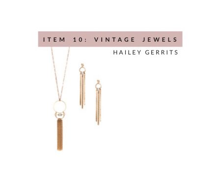 Hailey Gerrits Necklace and Earrings, made from vintage brass chains and rutilated quartz