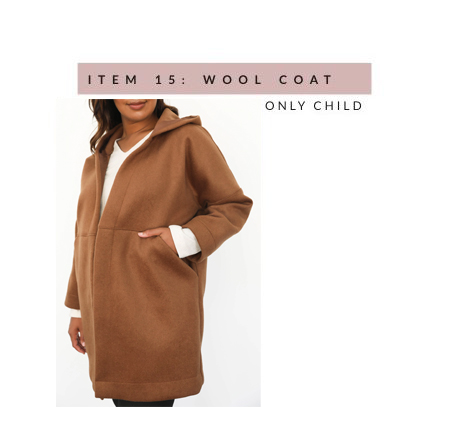 Only Child's Sonora Hooded Coat in ochre - a wool, mid-thigh-length coat that's oversized