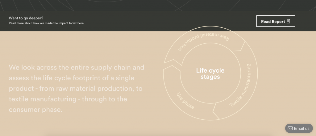 "A screenshot of Organic Basics' Impact Index page, with text that says ""We look across the entire supply chain and asses the life cycle footprint of a single product - from raw material production, to textile manufacturing - through to the consumer phase."" Next to this, there's a graphic of the simplified life cycle phases."