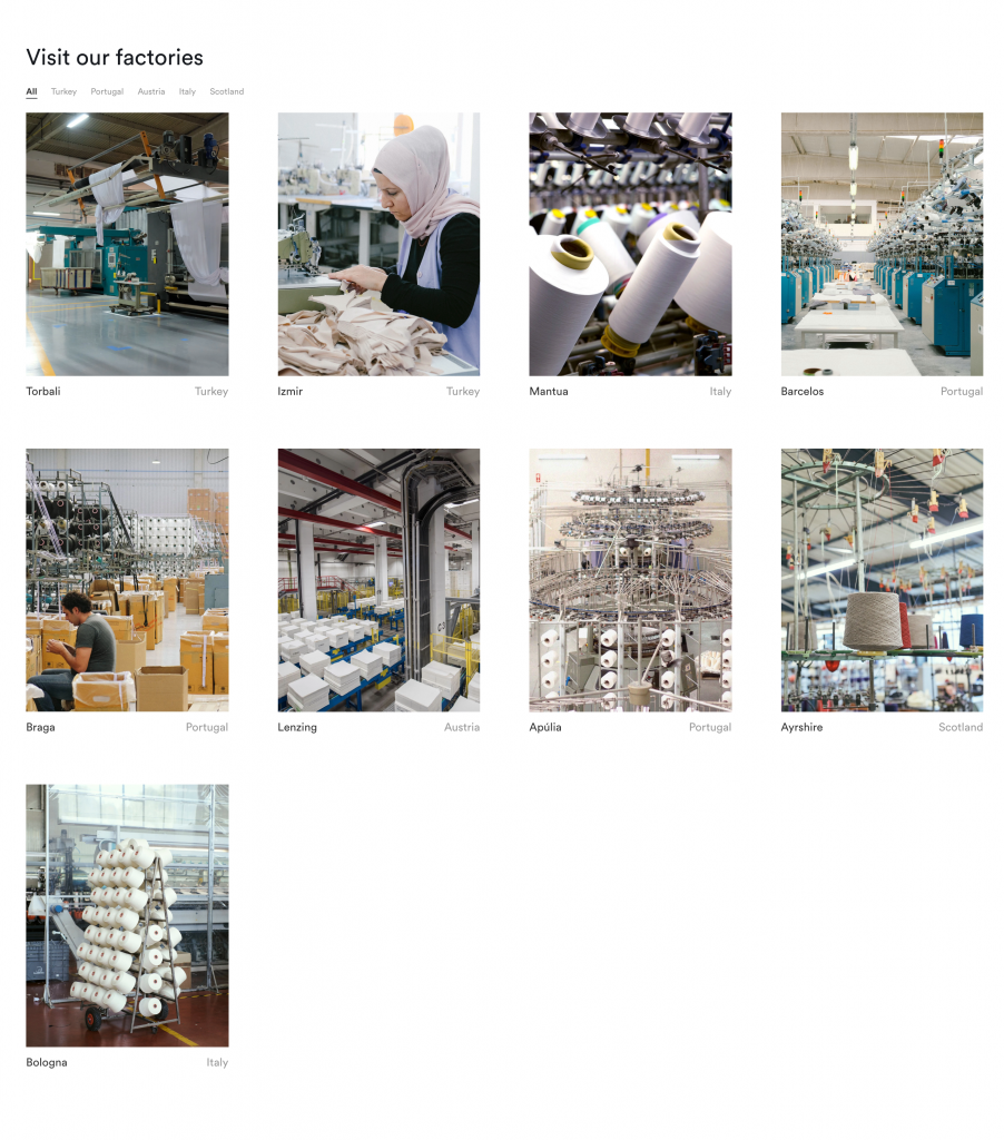 A chart showing all Organic Basics factories, with giant spools of thread in open, clean, airy factories. Some photos show workers diligently sewing or quality checking fabric. There are labels under each photo saying where the factories are: Turkey, Portugal, Austria, Scotland and Italy.